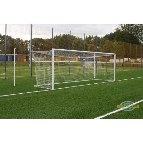 Bramka stacjonarna aluminiowa do piłki nożnej 7,32x2,44m z masztami, ramą dolną i tulejami