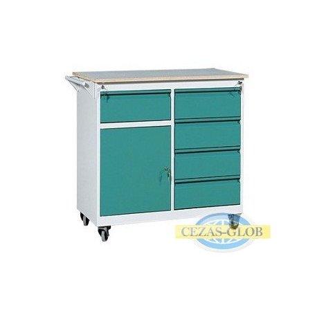 Wózek warsztatowy 5 szuflad + 1 szafka WWM-A
