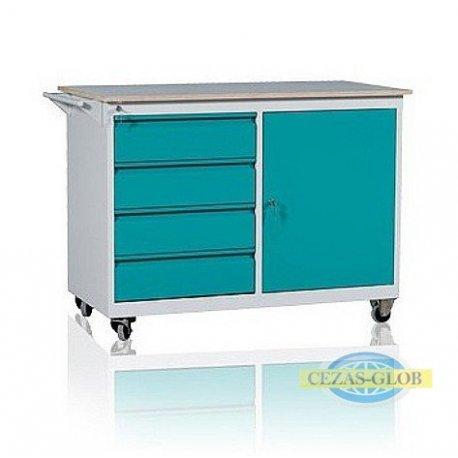 Wózek warsztatowy 4 szuflady + 1 szafka WWD-B