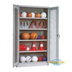 Szafa na sprzęt sportowy - SNS 2B-P (półki) - drzwi uchylne siatkowe
