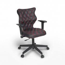 Krzesło obrotowe Vero – rozmiar 6 (159-207 cm), wzór karo, nić czerwona, stelaż czarny
