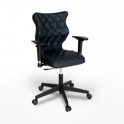 Krzesło obrotowe Vero – rozmiar 6 (159-207 cm), wzór karo, nić niebieska, stelaż czarny