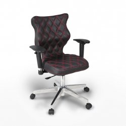 Krzesło obrotowe Vero – rozmiar 6 (159-207 cm), wzór karo, nić czerwona, stelaż chrom