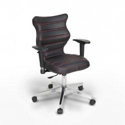 Krzesło obrotowe Vero – rozmiar 6 (159-207 cm), wzór pasy, nić czerwona, stelaż chrom