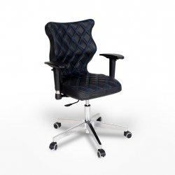 Krzesło obrotowe Vero – rozmiar 6 (159-207 cm), wzór karo, nić niebieska, stelaż chrom