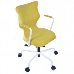 Krzesło obrotowe Deco – rozmiar 6 (wzrost 159-207 cm), stelaż biały, oliwkowe
