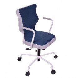 Krzesło obrotowe Lavre – rozmiar 6 (wzrost 159-207 cm), stelaż biały, granatowe