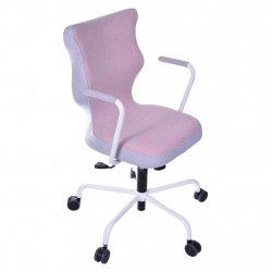 Krzesło obrotowe Lavre – rozmiar 6 (wzrost 159-207 cm), stelaż biały, różowe