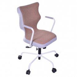 Krzesło obrotowe Lavre – rozmiar 6 (wzrost 159-207 cm), stelaż biały, brązowe
