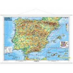 Hiszpania i Portugalia-mapa fizyczna-j. hiszpański