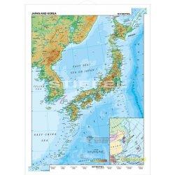 Japonia i Korea-mapa fizyczna-j. angielski