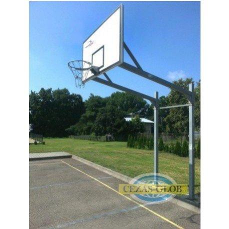 Stojak do koszykówki dwusłupowy, malowany, wysięgnik 1,6m rura kwadrat 90mm