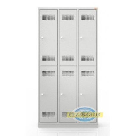 Szafa skrytkowa BHP sześciodrzwiowa, trzy kolumnowa BHP/3/6