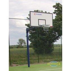 Stojak do koszykówki jednosłupowy malowany, wysięgnik 1,6 m rura kwadrat 90mm
